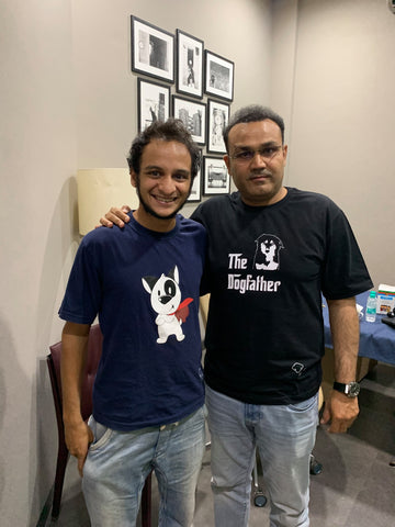 With Sehwag wearing the Dogfather t-shirt and Superdog t-shirt