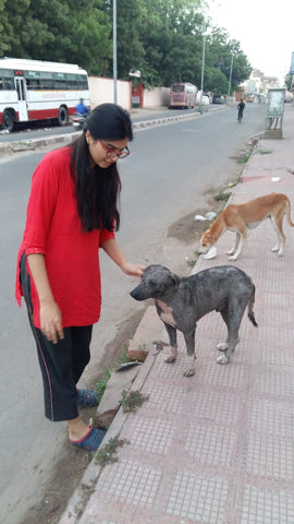 Woman with a dog on the streets