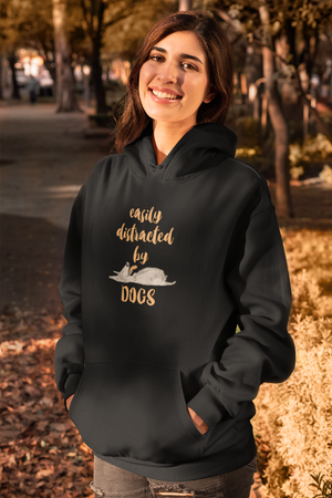 woman wearing cotton comfortable hoodie for dog lovers