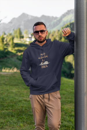 man wearing cotton comfortable hoodie for dog lovers