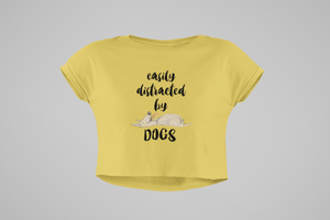 Woman wearing dog lovers tshirt crop top