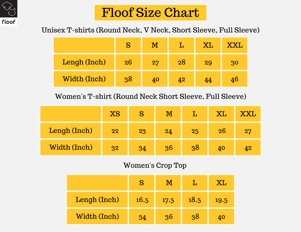 size chart for get floof apparel