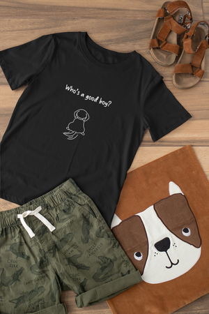 who's a good boy cotton tshirt for dog lovers