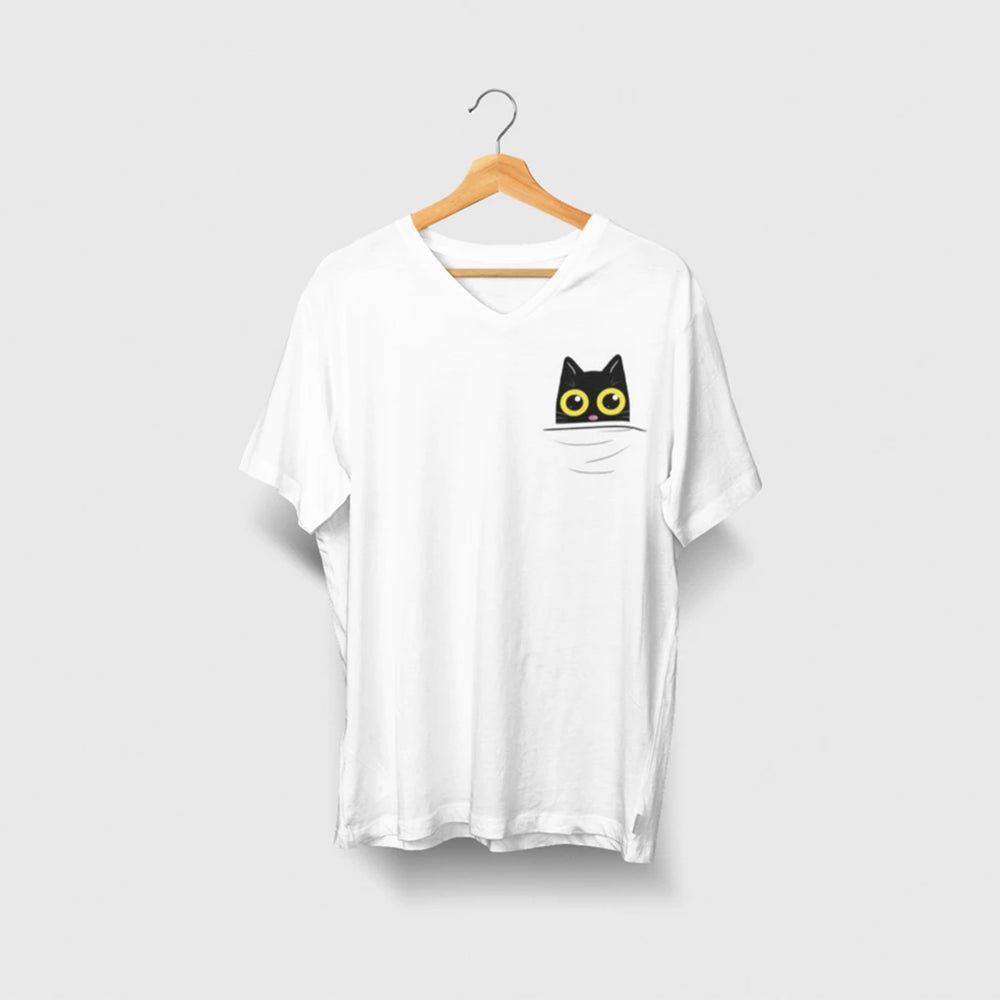 cat chilling in your pocket cotton t-shirt for cat lovers