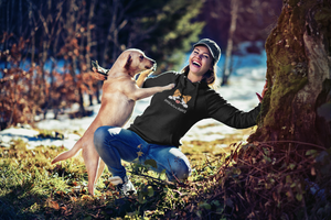 woman with dog wearing floof cotton hoodie for dog lovers