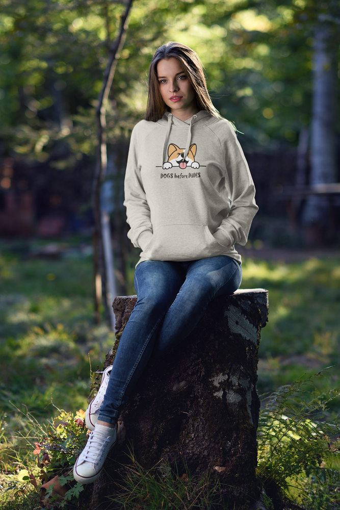 woman wearing hoodie for dog lovers by floof