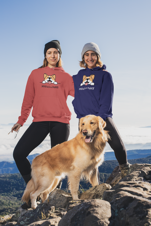 two friends with dog wearing floof cotton hoodie for dog lovers