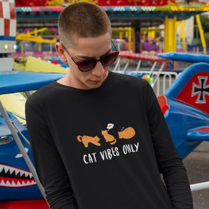 cat vibes only cotton tshirt for cat lovers