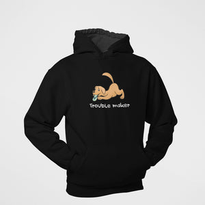 trouble maker floof hoodie for dog lovers