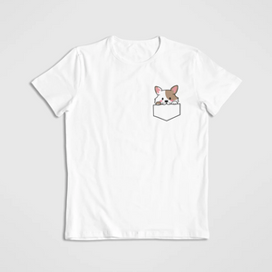 floof dog in pocket cotton t-shirt for dog lovers