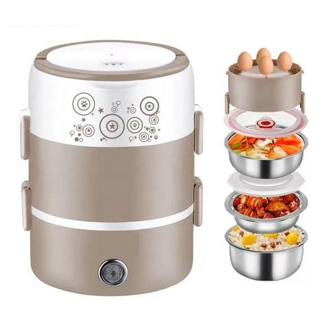 220V Portable Electric Heating Lunch Box With 3 Stainless Steel Plates | Food Warmer