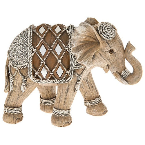 Kerala Wood Effect Elephant Ornament