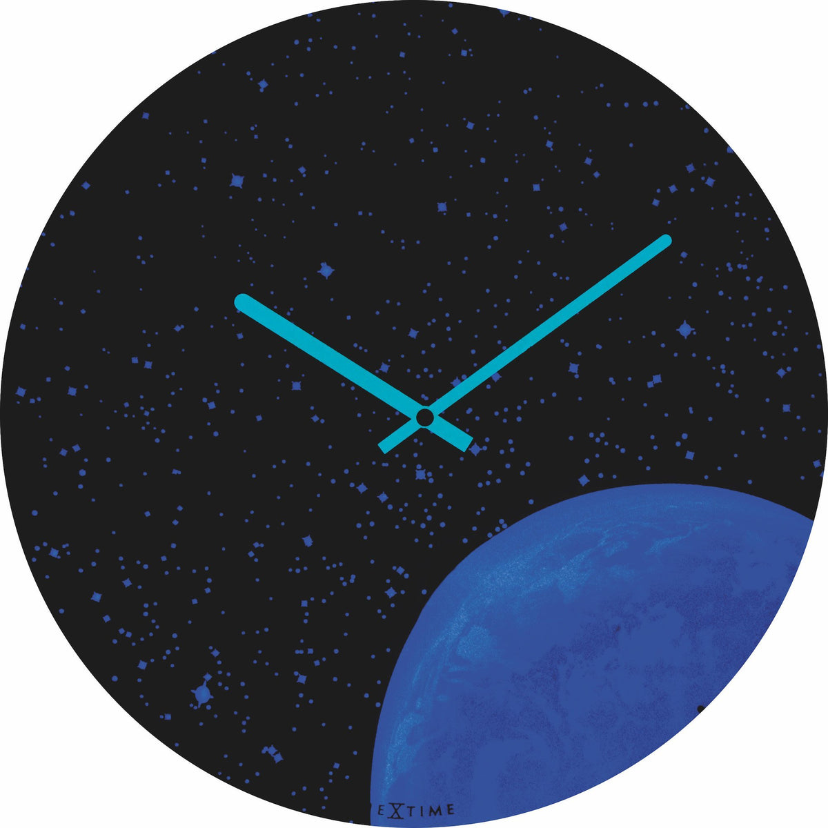 NeXtime - Wall clock - Ø 35 cm - Dome Glass - Glow-in-the-dark-  'Globe dome'