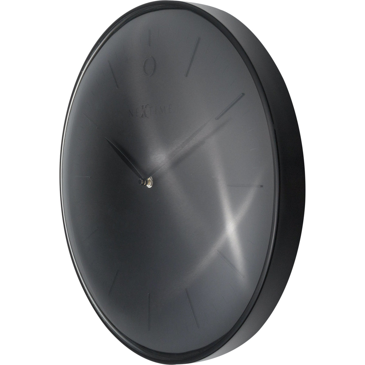 NeXtime - Wall clock- Ø 40 cm – Metal – Dome shaped glass- Black – 'Glamour'