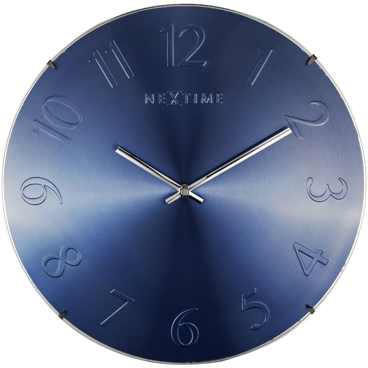 NeXtime - Wall clock- Ø 35 cm – Glass – Dome shaped glass- Blue – 'Elegant Dome'