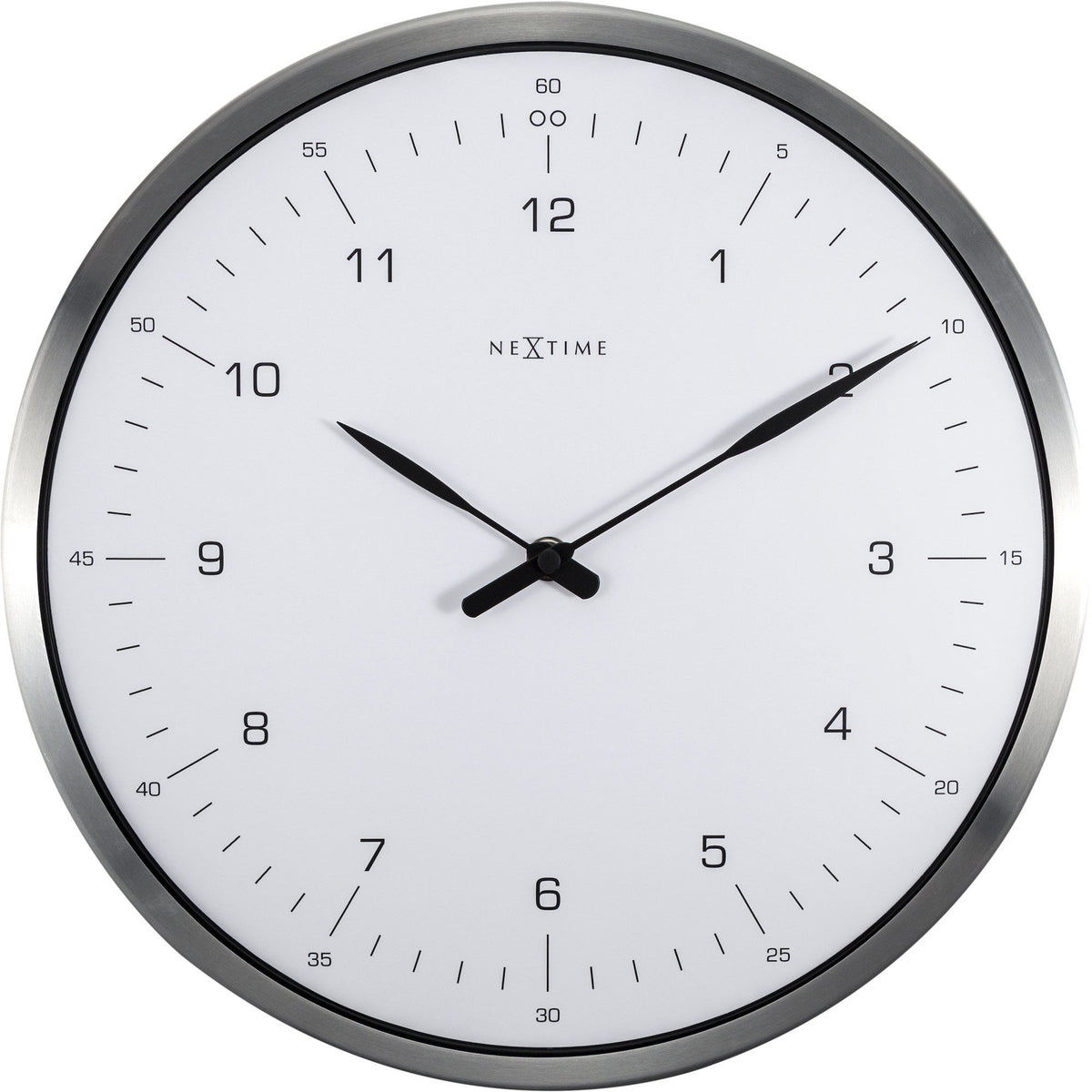 NeXtime - Wall clock- Ø 33 cm – Metal – Dome Shaped Glass- White – '60 Minutes'