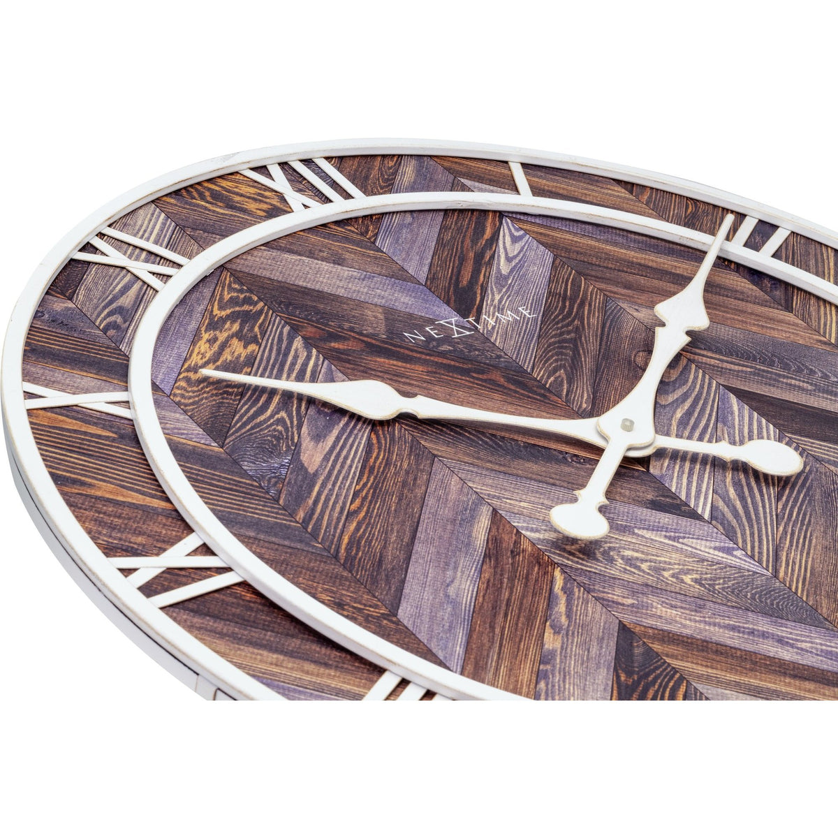 NeXtime- Wall clock - Ø 58 cm - Wood/Metal - Dark wood - 'Roman Vintage'