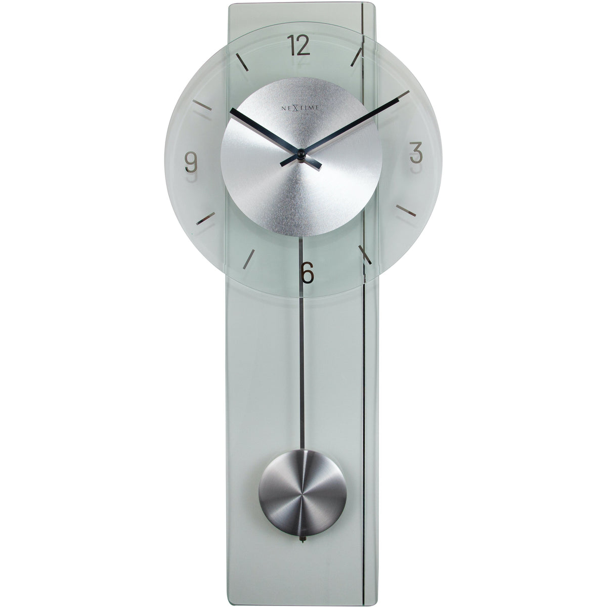 NeXtime- Wall clock - 70 x 30 cm - Glass / Metal - Transparant - 'Eleanor'