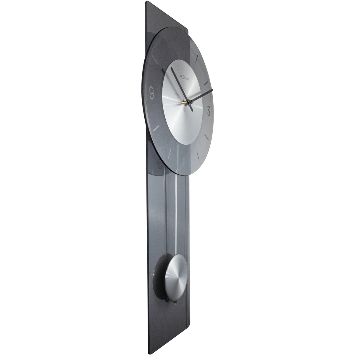 NeXtime- Wall clock - 70 x 30 cm - Glass / Metal - Grey - 'Eleanor'