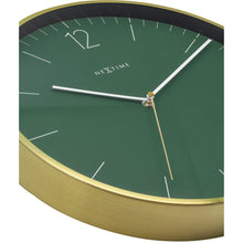 Load image into Gallery viewer, NeXtime- Wall clock - Ø 34 cm - Glass / Metal - Forrest Green - 'Essential Gold'