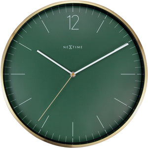 NeXtime- Wall clock - Ø 34 cm - Glass / Metal - Forrest Green - 'Essential Gold'