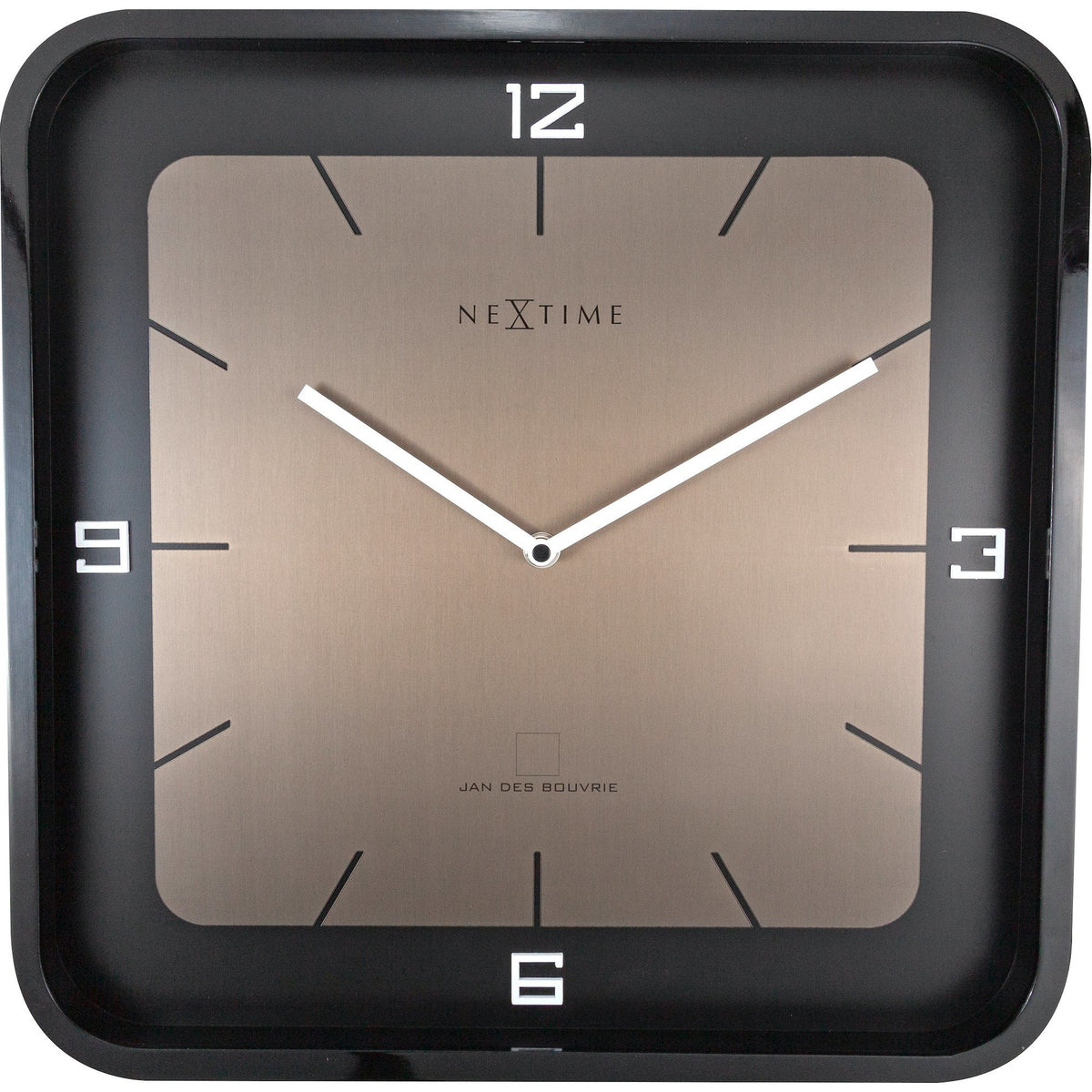 NeXtime - Wall clock - 40 x 40 x 4 cm - Wood - Black - 'Square Wall'