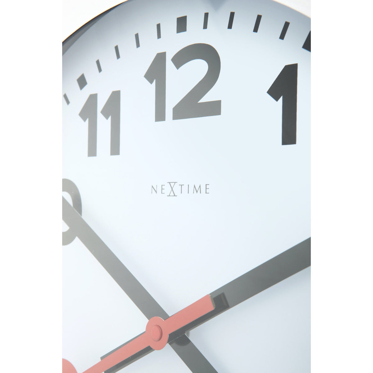 NeXtime - Wall clock/ Table clock - Ø 19 cm – Aluminum - Brushed - 'Station Numbers'