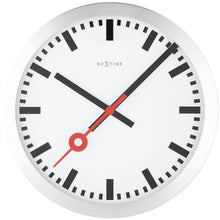 Load image into Gallery viewer, NeXtime - Wall clock/Table clock - Ø 19 cm – Aluminum - Brushed - 'Station Stripe'