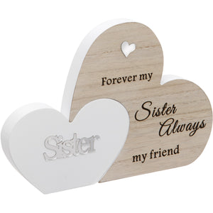 Sisters Double Interlocking Hearts Plaque