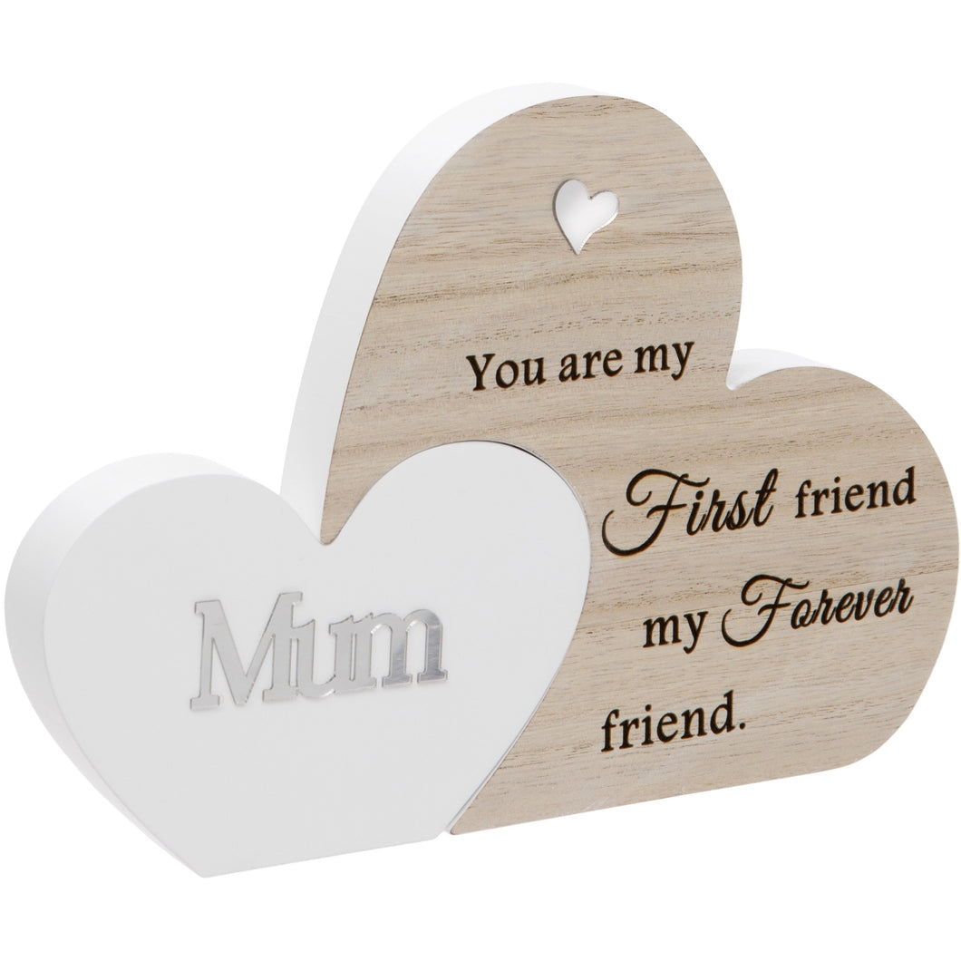 Mum Double Interlocking Hearts Plaque