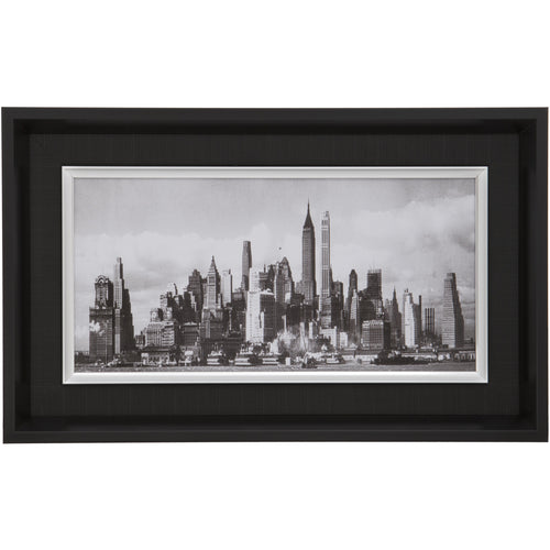 Black Rectangular Landscape Thick Edge Wall Mountable Photo Frame - New York City Skyline