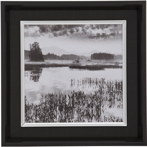 Black Square Thick Edge Wall Mountable Photo Frame - Lake