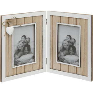 Distressed Wooden Double Photo Frame With Heart Detailing