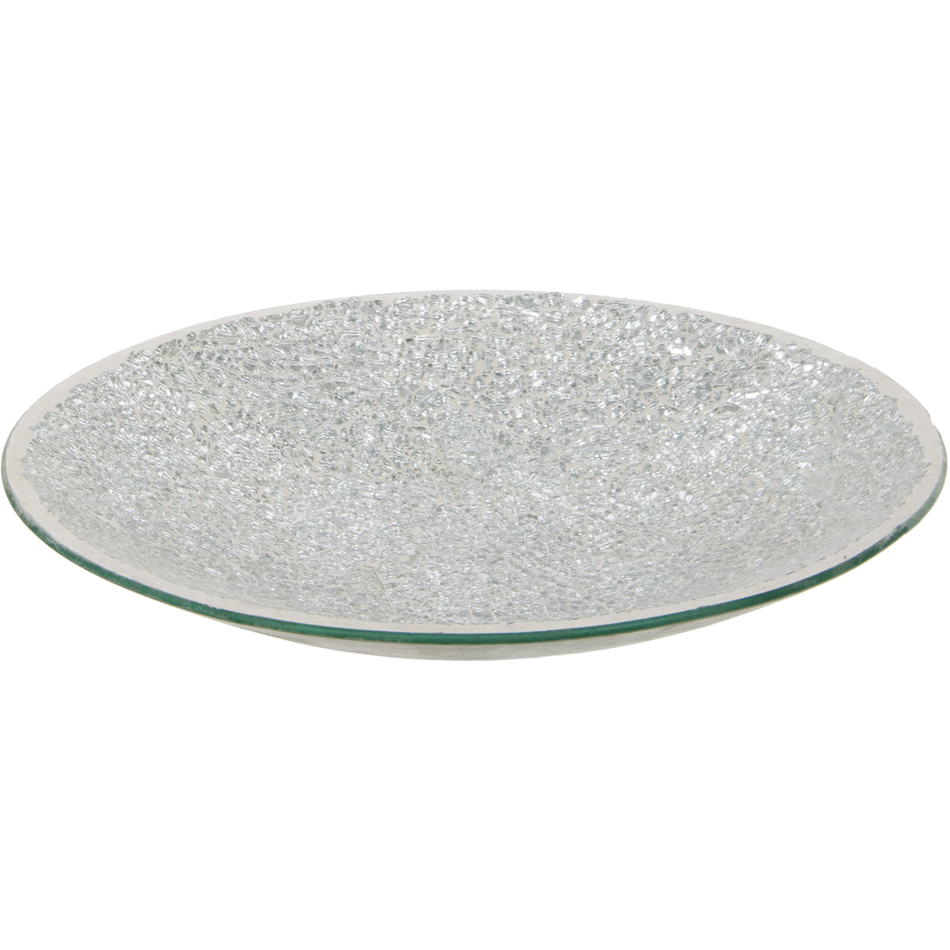 Silver Crackled Glass Mosaic Decorative Plate