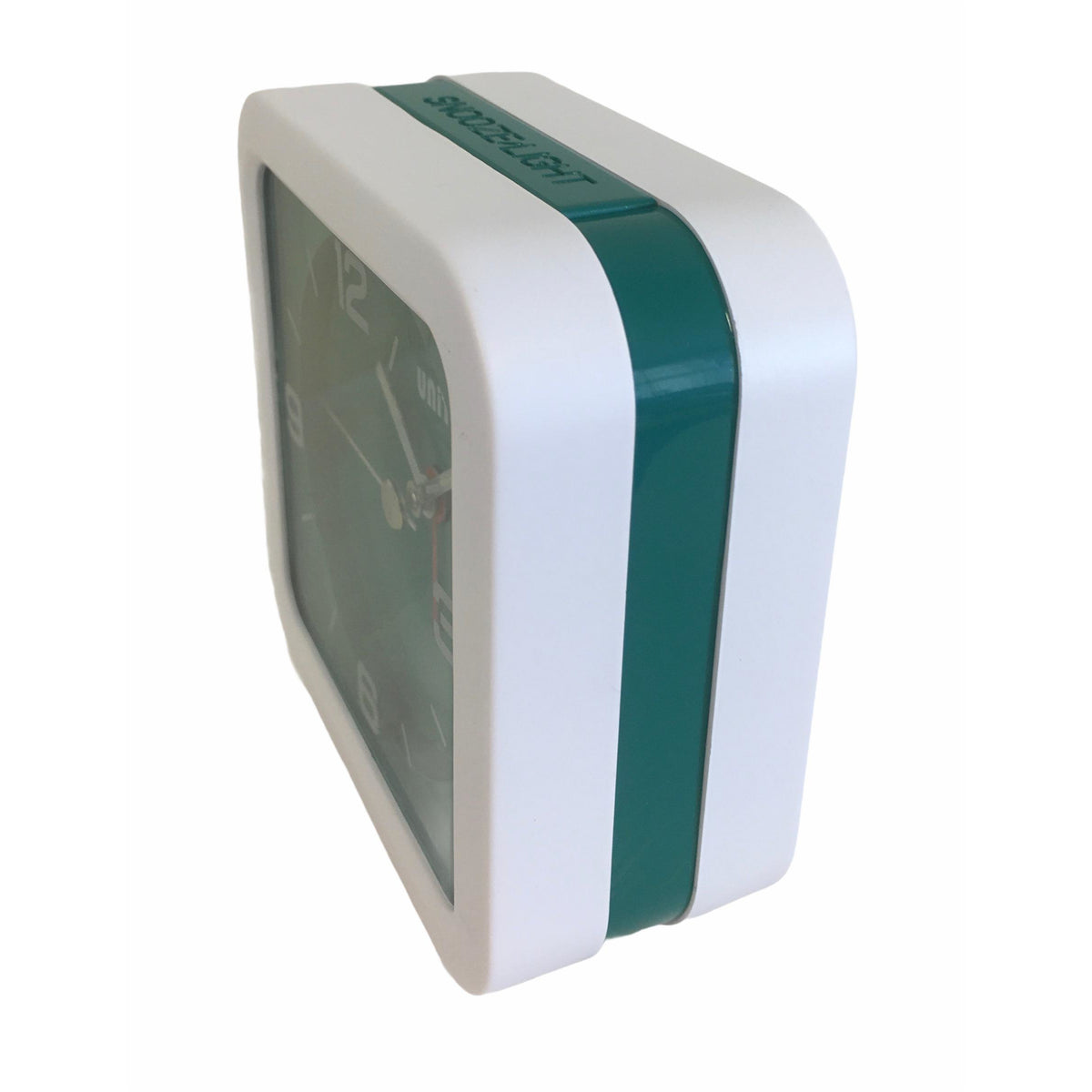 Square Beep Alarm Clock in Green and White