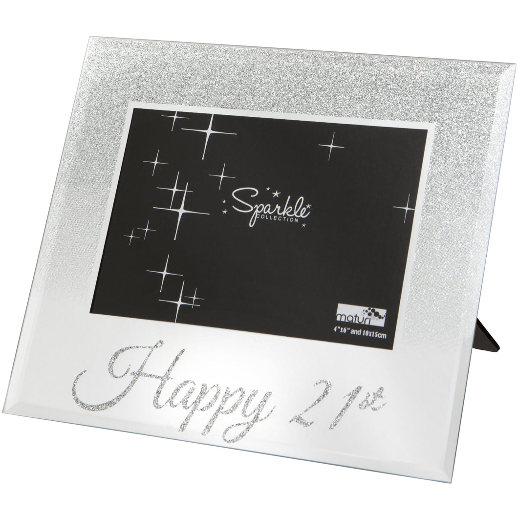 Mirrored Silver Glitter 6 x 4 Inch Photo Frame Happy 21st