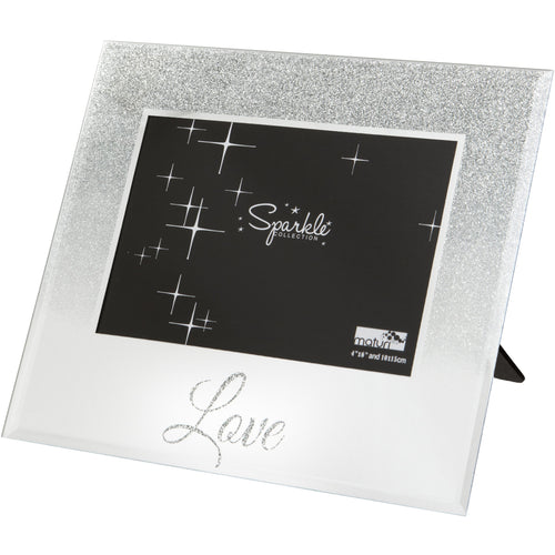 Love Mirrored Silver Glitter 6 x 4 Inch Photo Frame