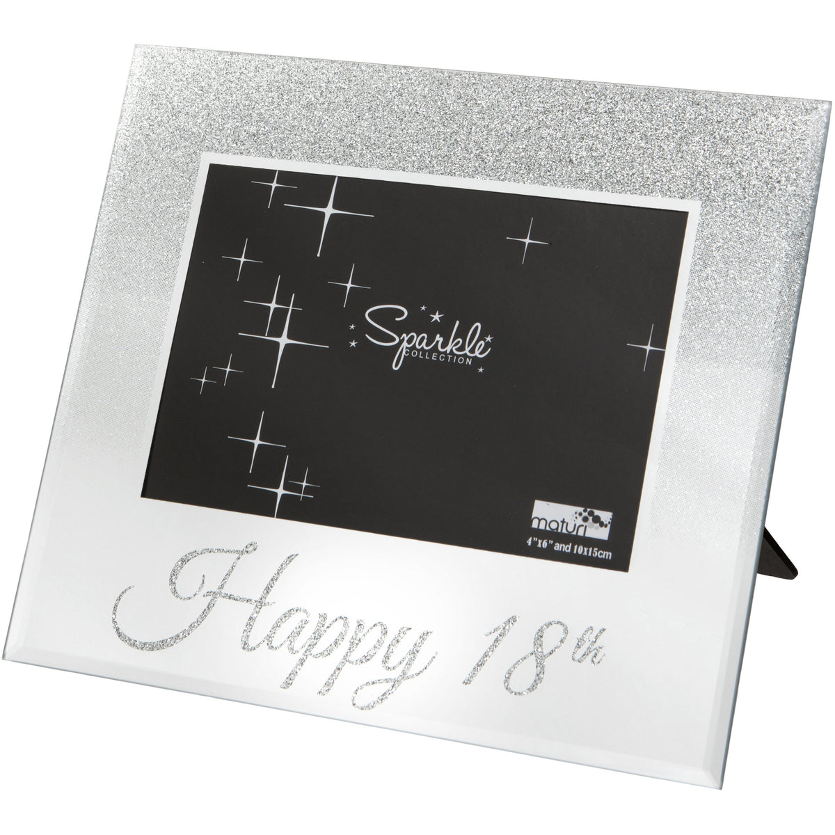 Mirrored Silver Glitter 6 x 4 Inch Photo Frame Happy 18th