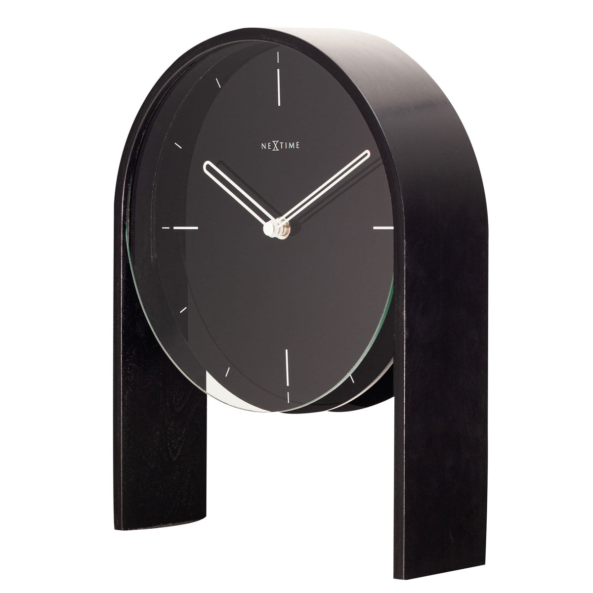 NeXtime- Table clock - 27 x 21 x 6,5 cm - Wood - Black - 'Noa Table'