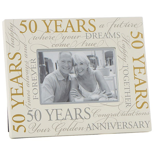 Golden Wedding Anniversary Wooden Frame