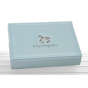 Blue Faux Leather Keepsake Box