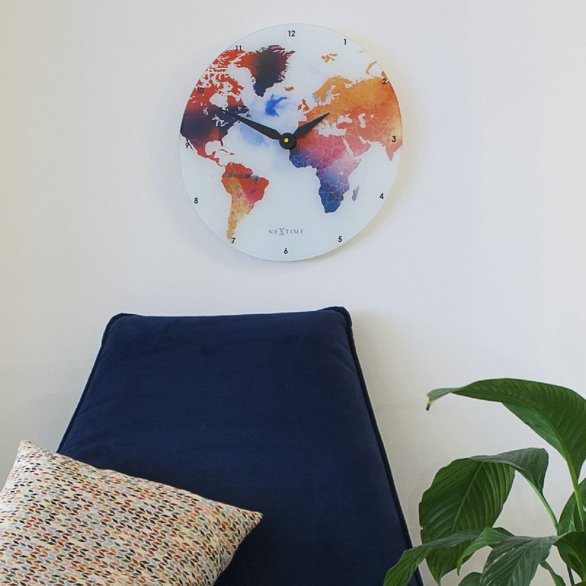 NeXtime - Wall clock - Ø 43 cm - Glass – Various colors – 'Colorful World'