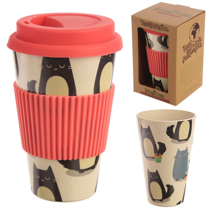 Fine Feline Reusable Bamboo Travel Mug