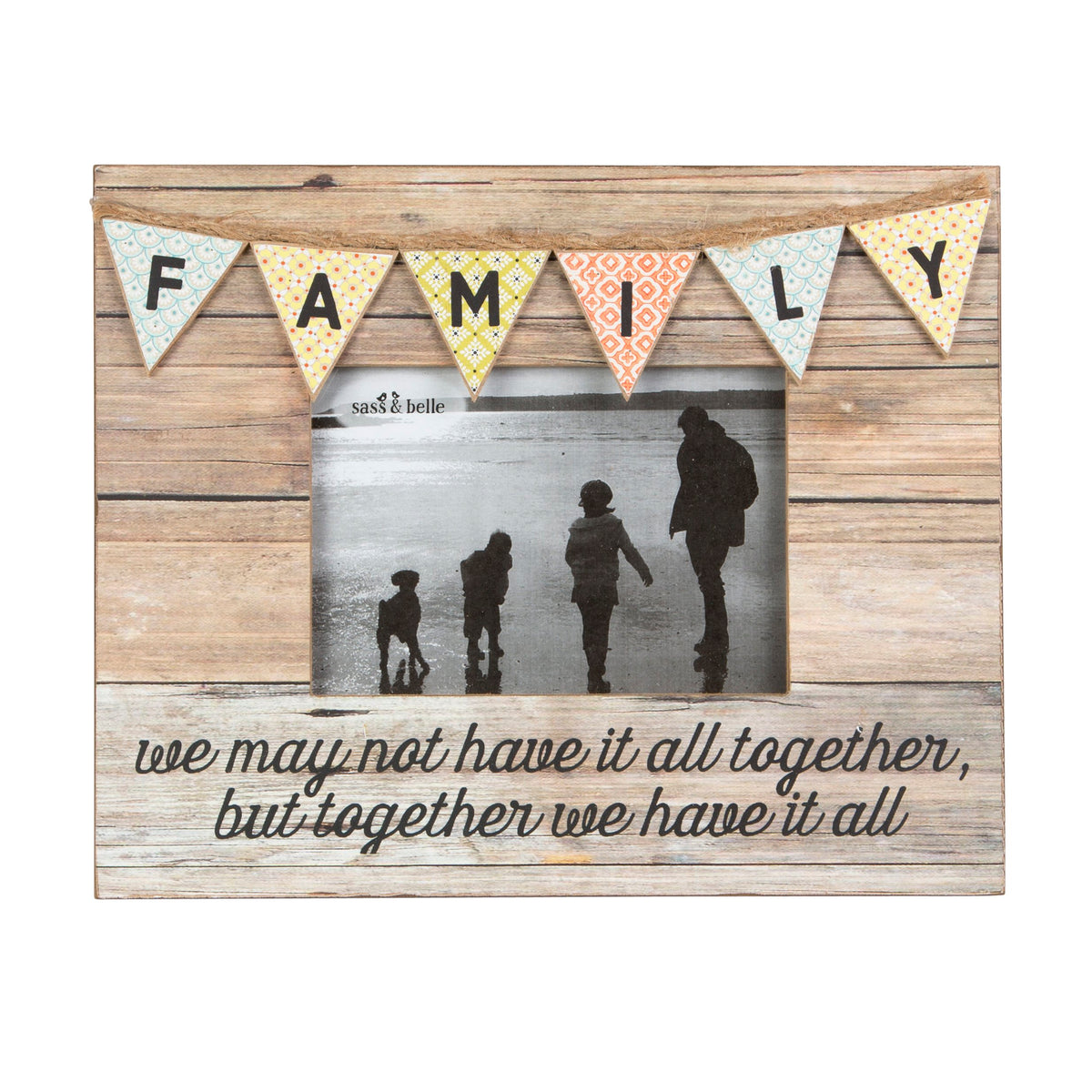 Sass and Belle Rustic Bunting Family Standing Photo Frame