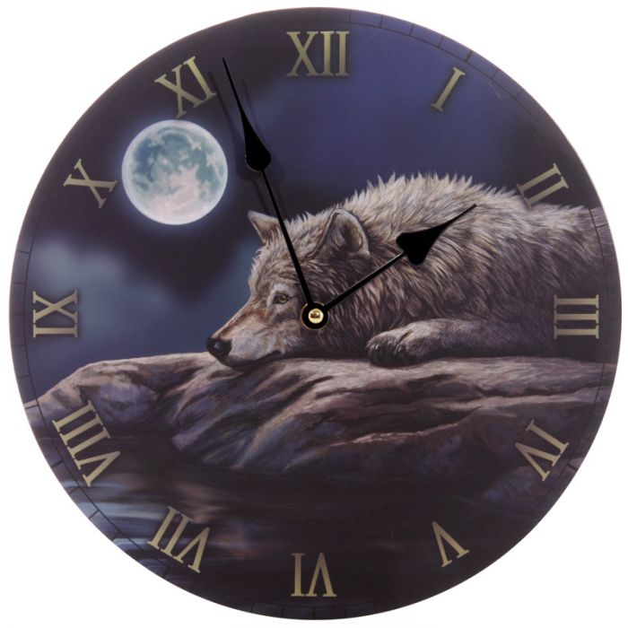 Lisa Parker Quiet Night of The Wolf Wall Clock