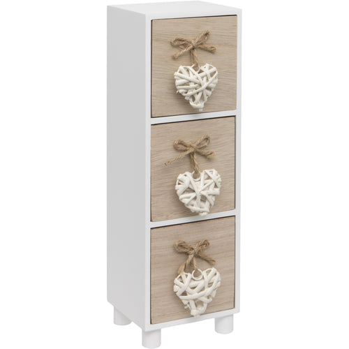 White Woven Heart Wooden Three Drawer Chest