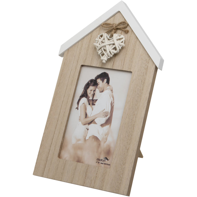 Woven Heart House Shaped Wooden Photo Frame - 6 x 4-Inch / 10 x 15 cm