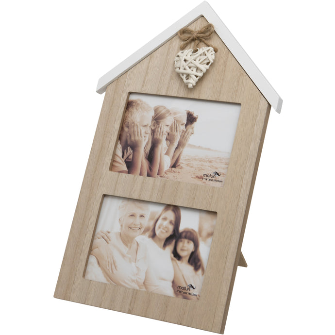 Woven Heart House Shaped Wooden Double Photo Frame 6 x 4-Inch / 10 x 15cm