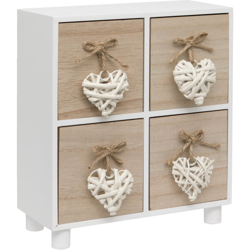 White Woven Heart Wooden Four Drawer Chest