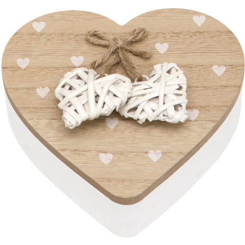 Woven Heart Wooden Trinket Jewellery Box with Lid